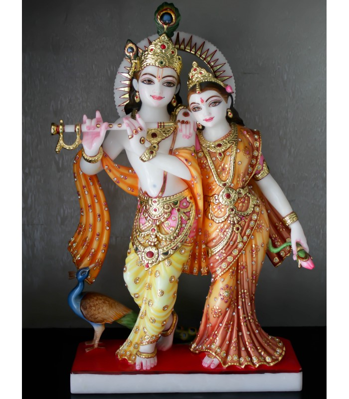 Radha Krishna Playing Flute From Marble Online At Gmb