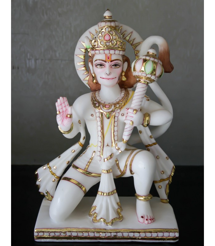 Marble Hanuman With Blessing And Holding Gada Gmb