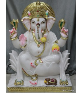 Pure White Ganesh Statue on Lotus