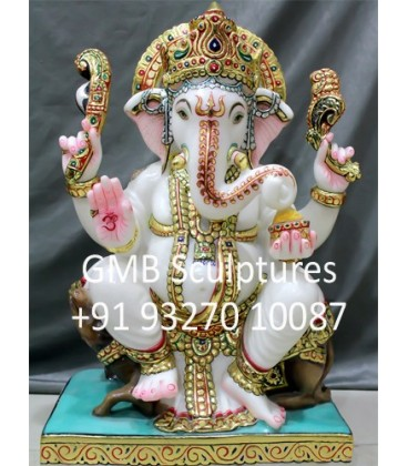 Ganesha Statue Seated on Mouse