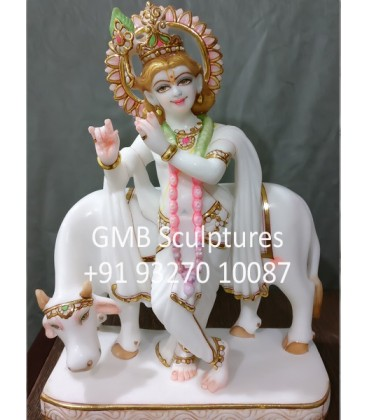 Marble Statue of Krishna with Cow