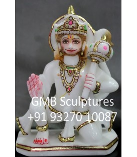 Marble Murti of Seated Hanuman