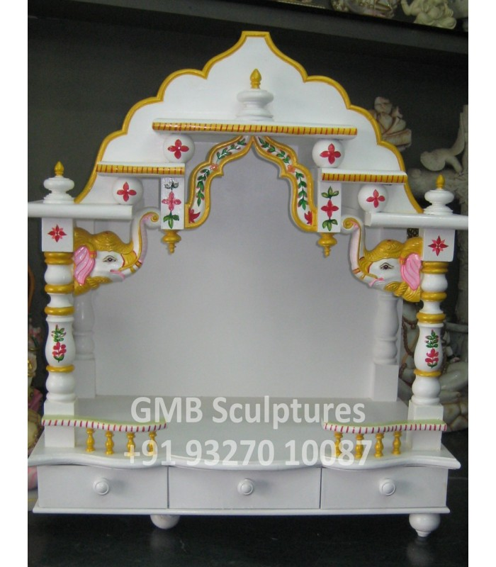 Buy Wooden Temple With Marble Design And Marble Polish Online