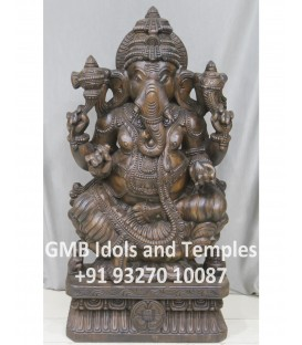 Wood Ganesh Statue