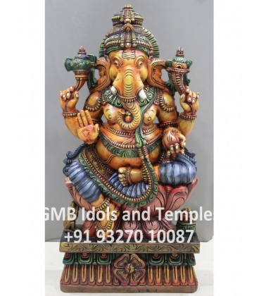 Beautiful Painted Idol of Ganesha from Solid Wood
