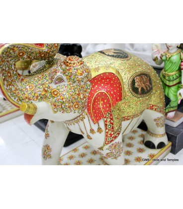 Marble Elephant with Gold Painting