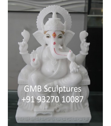 Spotless White Ganesh Statue
