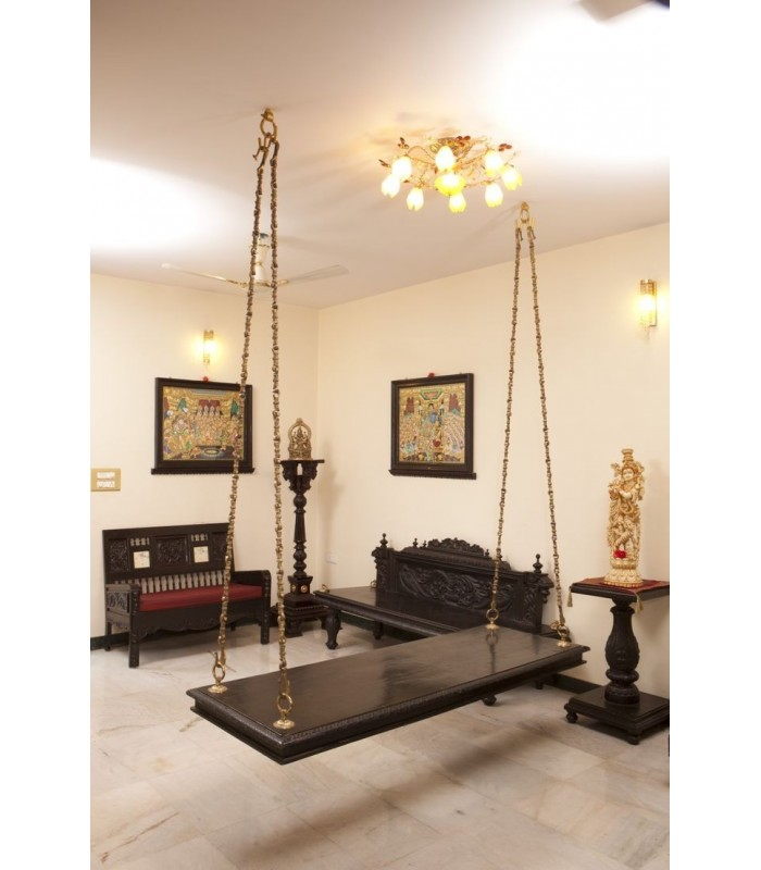 Wooden Plank Swing With Brass Chain California New York